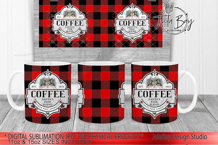 Christmas Coffee Buffalo Plaid Mug Full Wrap PNG for 15oz & 11oz Coffee Mug