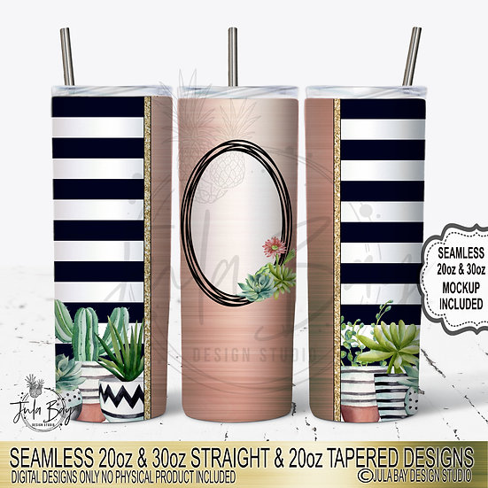 Succulent Full Tumbler Wrap Skinny Tumbler Template PNG Seamless Striped Tumbler