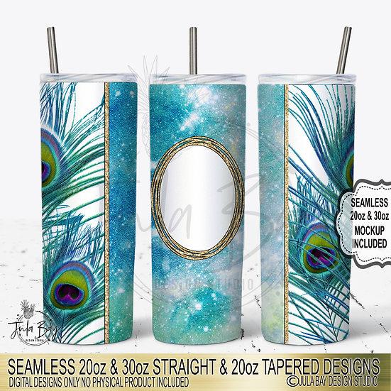 Peacock Feather Skinny Tumbler PNG  20oz skinny tumbler design Digital Download