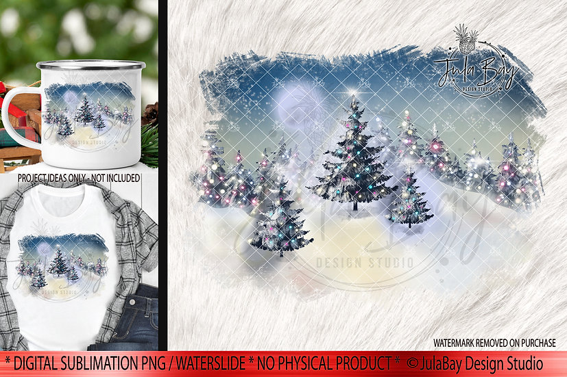 Moonlit Christmas PNG Christmas Trees Sublimation Design