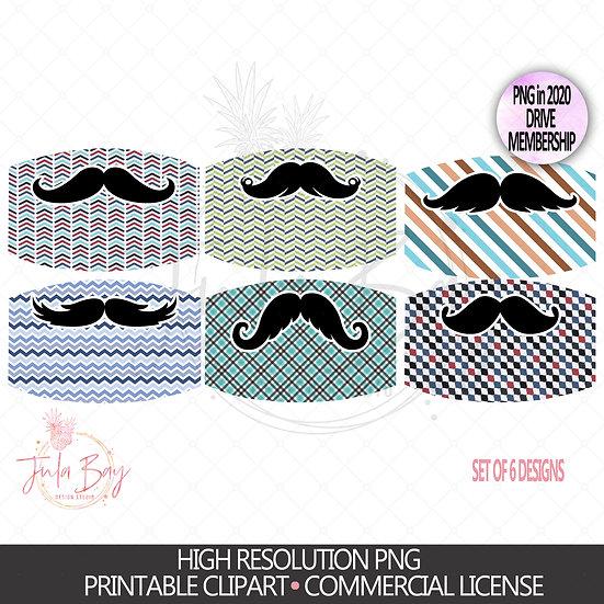 Funny Mustache Mask Sublimation Set - Business Suit Mustache Designs