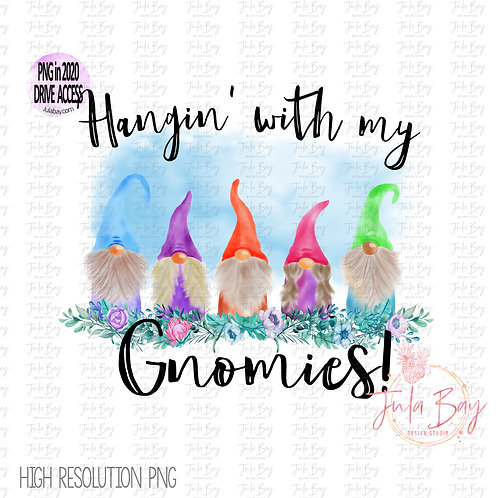 Spring Gnomes Watercolor Hanging with my Gnomies Clipart PNG Family of 5 Friends