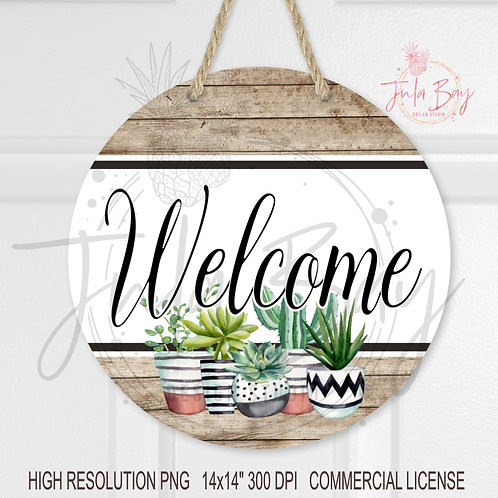 Succulent Round Welcome Door Sign Design PNG Sublimation Design White Shiplap