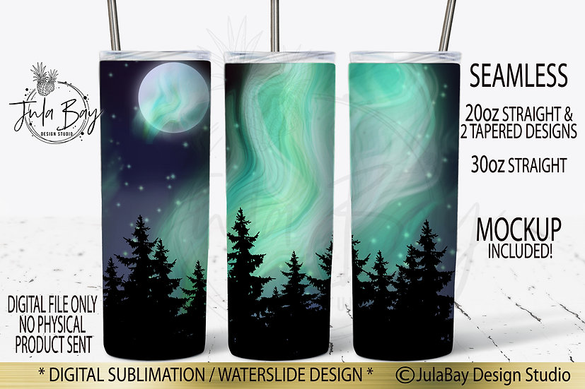 Northern Lights Tumbler Wrap Skinny Tumbler Sublimation Design Full Moon Trees