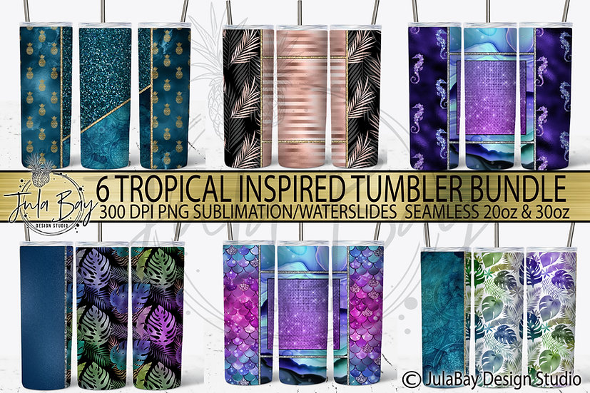 Tropical Skinny Tumbler Bundle 6 Tumbler Designs Mermaid Scales Palm Leaves Sea