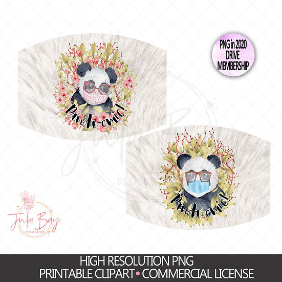 Watercolor Panda with MaskPNG Digital Mask Design - Pandaemic -Panda with Mask