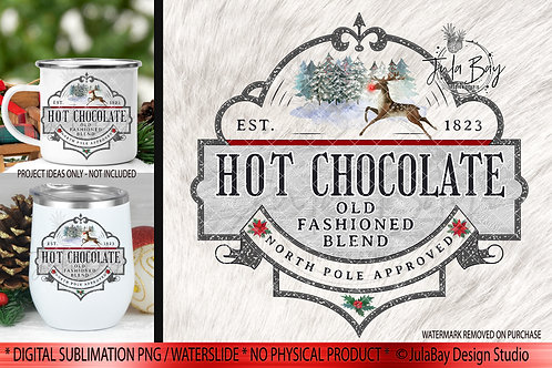 Hot Chocolate Christmas Sublimation Design Instant Download Cricut Silhouette