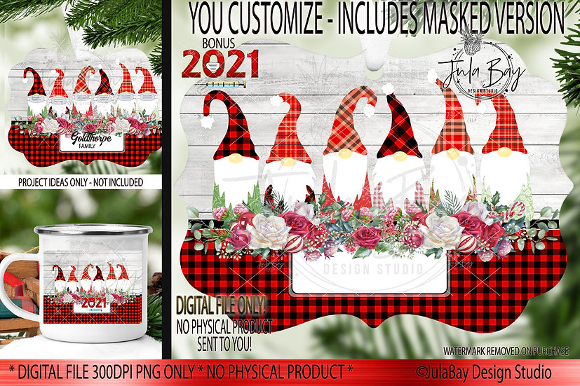 Customizable Family of 6 Gnomes with Masks Christmas Ornaments PNG Covid