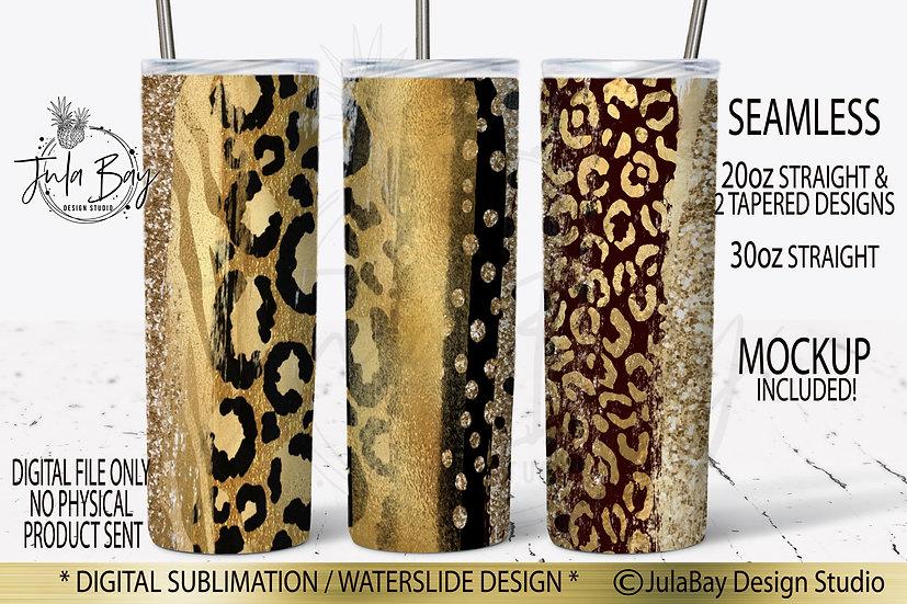 Mixed Animal Print Skinny Tumbler Design Gold Foil Leopard Zebra Cheetah