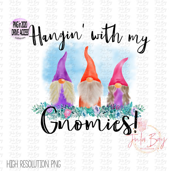 Watercolor Gnomes Flowers Hanging with my Gnomies Clipart PNG Family of