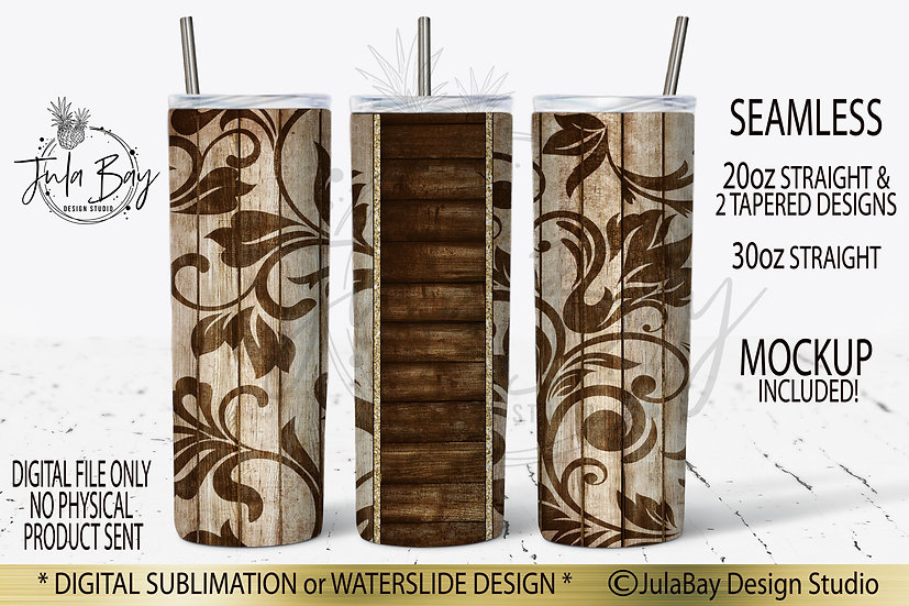 Tooled Leather Peekaboo Skinny Tumbler Sublimation Design PNG Woodgrain