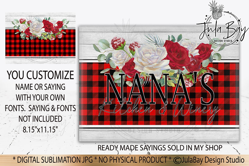 Customizable Family Cutting Board PNG Buffalo Plaid Red and White Glamourous