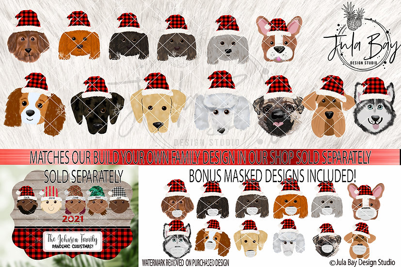 Dog Breed with Masks and Santa Hats for Build Your Own Elf Family Ornaments