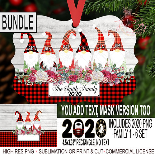 BUNDLE Gnome Family Christmas Ornament Bundle PNG 2020 Gnomes with Mask 7, 8, 9