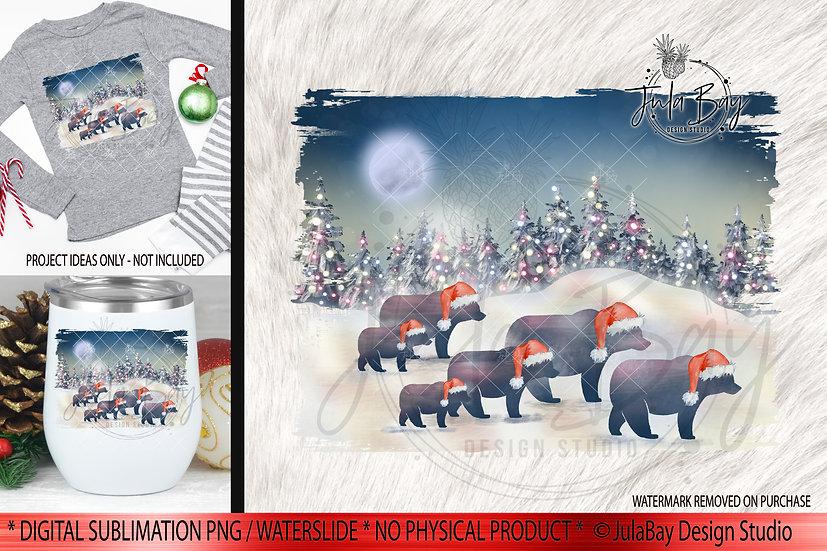 Family of 6 Christmas Bears PNG - Christmas Family Jammies Design - Rustic Bears