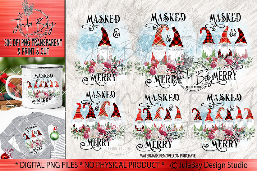 Masked Gnomes PNG Sublimation Designs - Full Bundle of Gnome Families Christmas