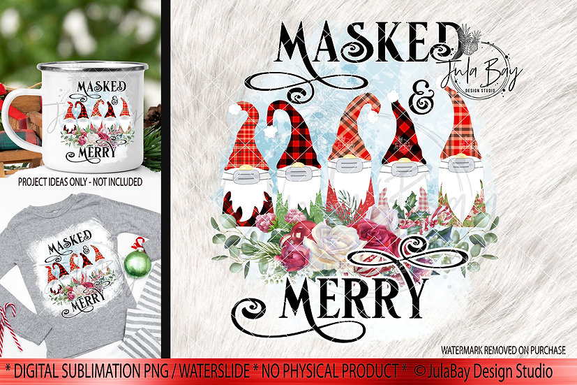 Masked & Merry 5 Masked Gnomes PNG Christmas Gnome Sublimation Design