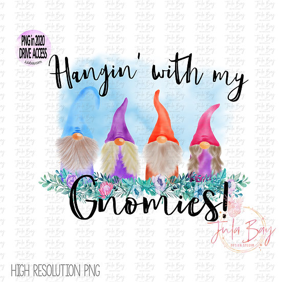Colorful Gnomes Watercolor Hanging with my Gnomies Clipart PNG Family of 4