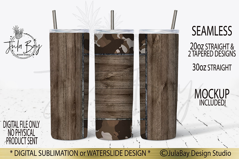 Dark Wood Grain Skinny Tumbler Template with Brown Camo Camouflage Masculine PNG