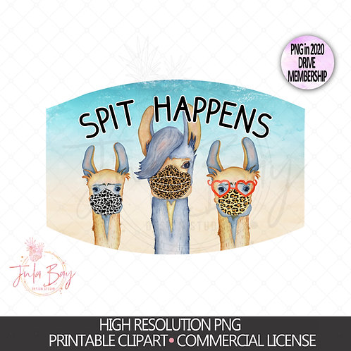 Llamas with Masks PNG Mask Design Spit Happens Clipart