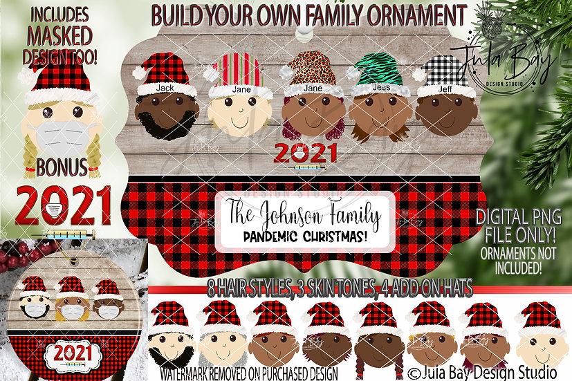 Multicultural Elf Ornament with Mask Includes 3 skin tone Build Your Own Family