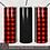 Thumbnail: Bundle Buffalo Plaid Black Leather Seamless Full Wrap PNG 20oz Skinny Tumbler