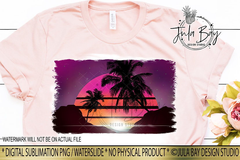 Retro Beach Sunset PNG Sublimation Design for Tshirt