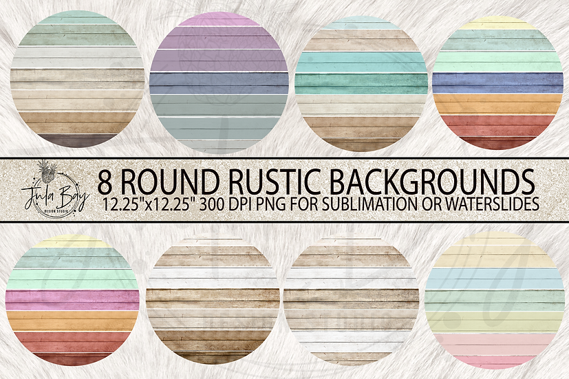 Round Wooden Frame Sublimation Background Clipart - Colorful Rustic PNG Frames