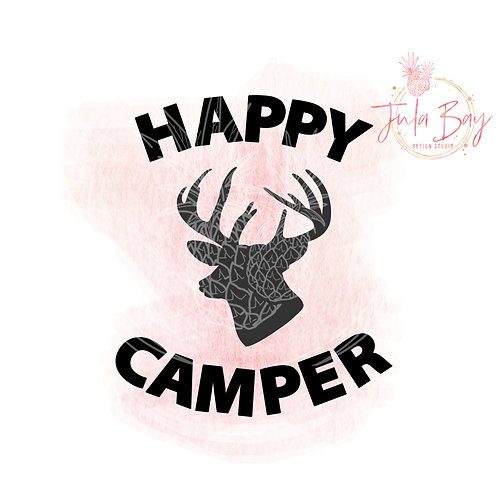 Happy Camper SVG PNG EPS DXF with Deer Head