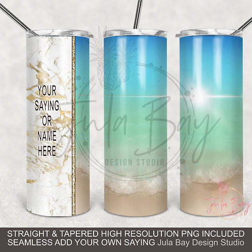 Beach Landscape PNG Full Wrap for Skinny Tumbler Sublimation Seamless Tapered