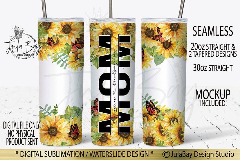 Sunflowers and Butterflies Skinny Tumbler Sublimation Design Mom Split Design