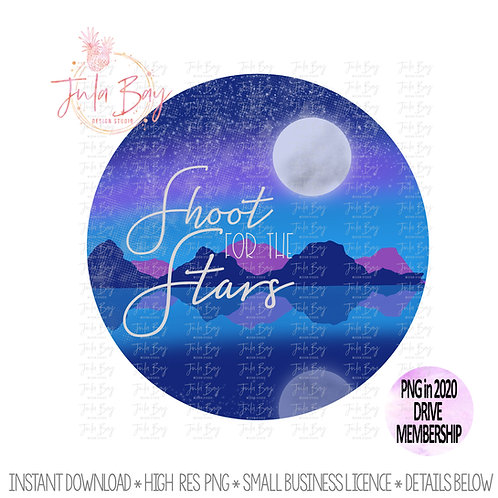 Shoot for the Stars Scenic Clipart Sublimation Design with a Moon