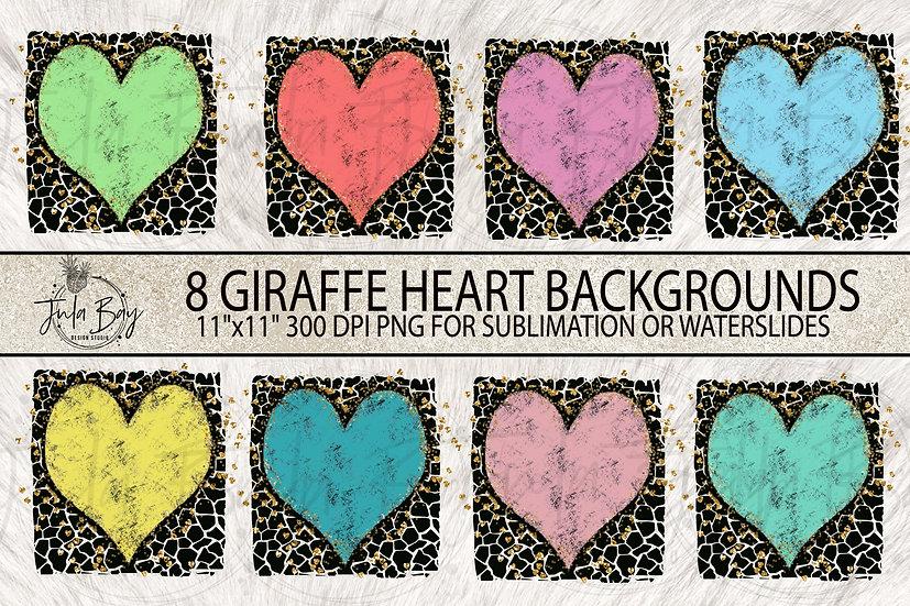 Giraffe Print Grunge Heart Glitter Sublimation Background Designs PNG