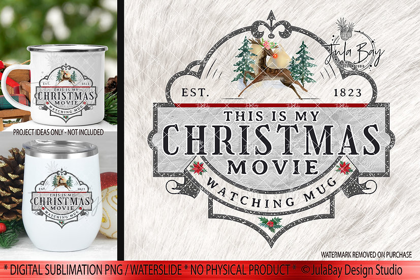 Christmas Movie Watching Mug PNG Christmas Sublimation Design Instant Download