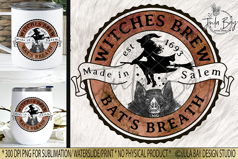 Witches Brew Bat's Breath Halloween Label PNG Potion Label Elixir