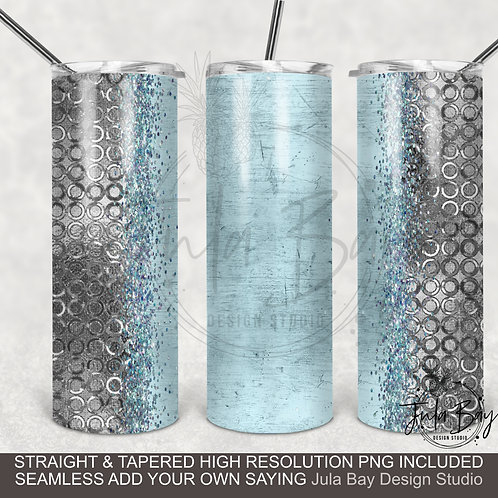 Icy Blue and Silver Full Wrap PNG Sublimation Design Skinny Tumbler