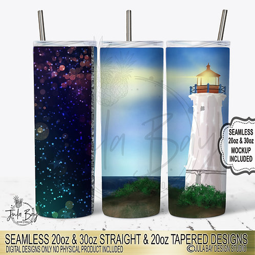 Lighthouse Ocean PNG Colorful Sublimation Design for Skinny Tumblers FullI wrap