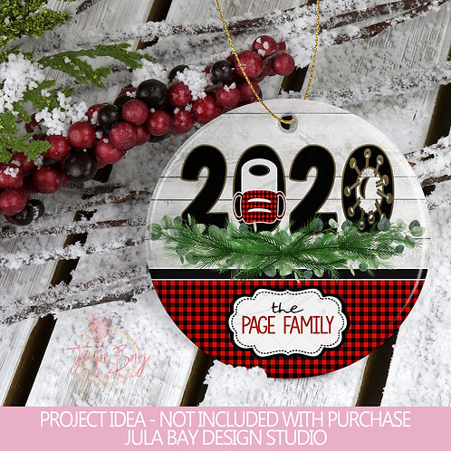 Buffalo Plaid 2020 Christmas Ornament Design PNG Sublimation