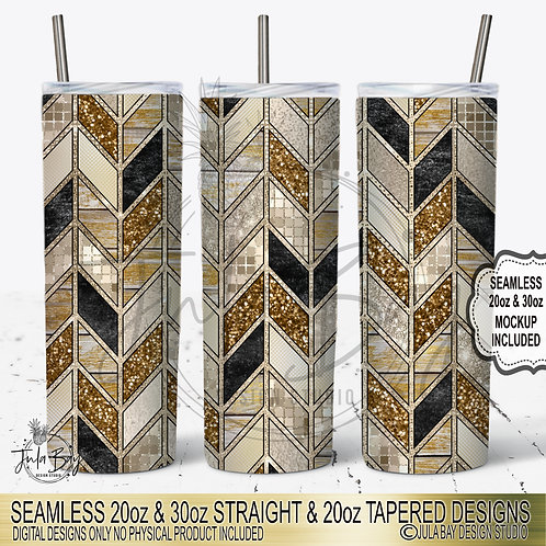 Gold Tangram Pattern Tumbler Template PNG 20oz Skinny Tumbler Sublimation PNG
