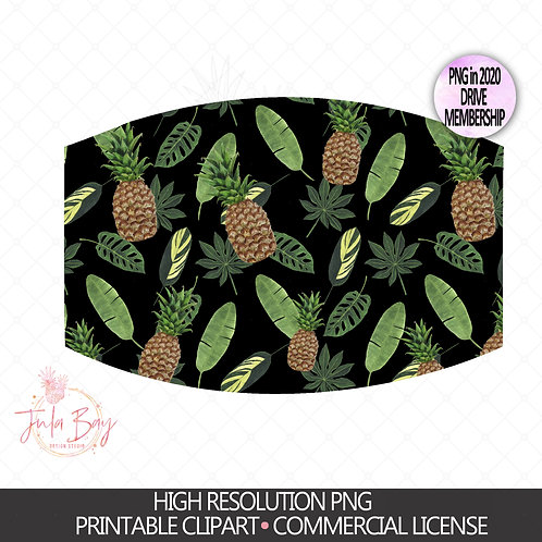 Tropical Pineapple Mask PNG - Sublimation Design for Mask Fun Pineapple Pattern