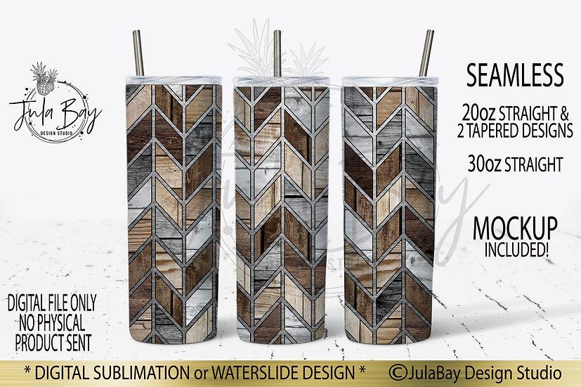Masculine Chevron Geometric Skinny Tumbler Design PNG Woodgrain #geolavish