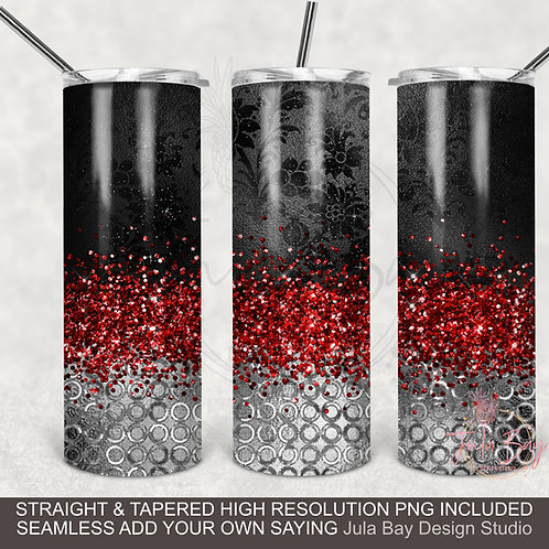 Full Wrap 20oz Skinny Tumbler PNG Elegant Red, Black and Silver Full Waterslide