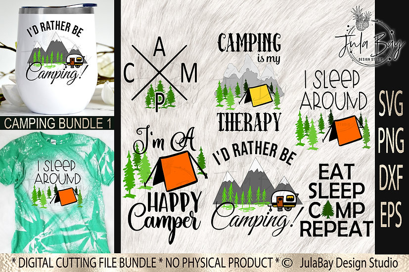 Camping SVG Bundle 1 Funny Camping Designs PNG Mountains Tent