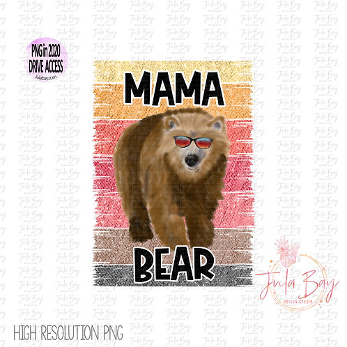 Mama Bear with Sunglasses Watercolor Original Art Sublimation Clipart PNG