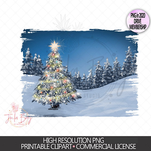 Christmas Tree PNG - Christmas Background Lit up tree in wilderness Sublimation