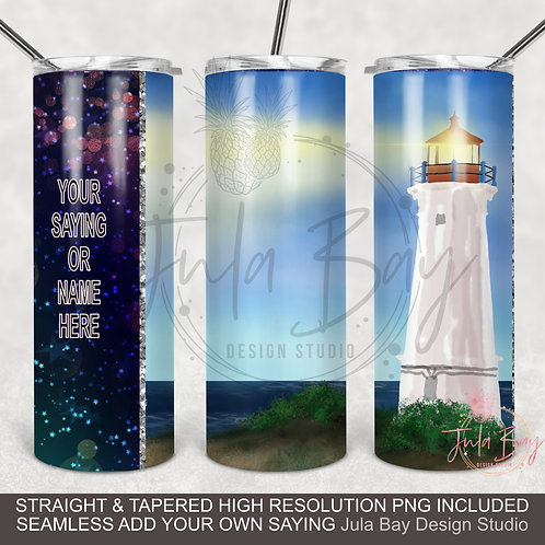 Light House Ocean PNG Colorful Sublimation Design for Skinny Tumblers FullI wrap