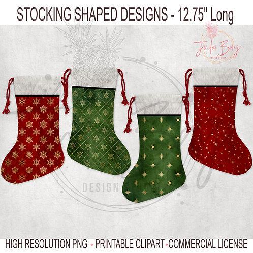 Christmas Stocking Sublimation Pattern PNG Sublimation Santa Stocking Designs