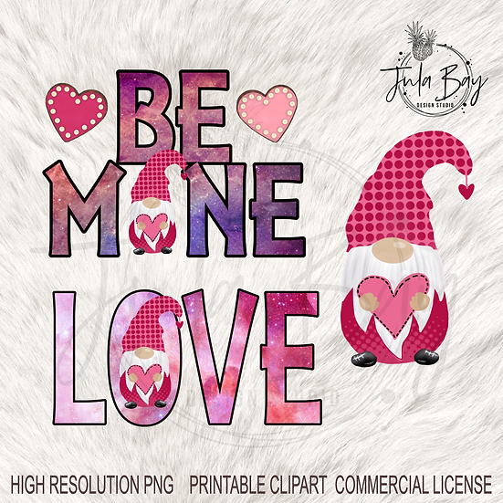 Valentines Gnome PNG Love Gnome Sublimation Design Be Mine PNG Hearts