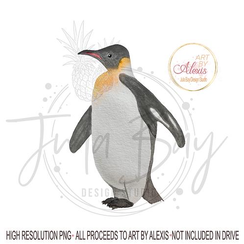 Watercolor Penguin PNG - Original Art Penguin Sublimation Design - Art By Alexis