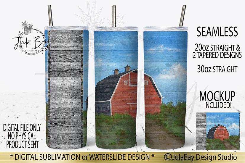 Barn Skinny Tumbler Orignal Art - Farmhouse Tumbler PNG 20oz skinny